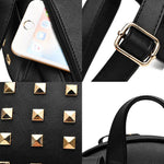 Punk Rivets Splicing Color Blocking Square Lady  School Backpack PU Travel Backpack