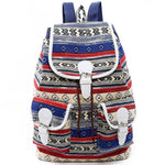 Folk Geometric Totem Two Pockets Belt Flap Drawstring School Backpack Girls Canvas Travel Backpack