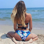 Sweet Cross Bandage Blue Printed Bikini Swimsuit Bathingsuit