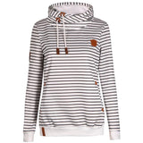 Fashion Autumn Women's Casual Striped Hoodie Pullover Sweater Cashmere Wool Sports Overcoat