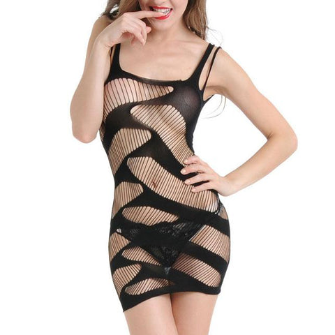 Sexy Women's Stripe See Through Hollowed-out Straps Dress Lingerie