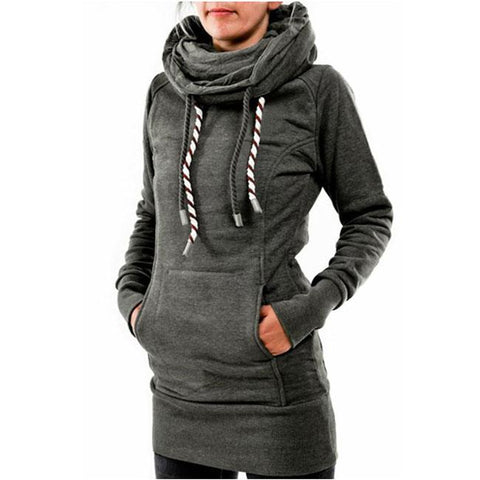 Leisure Heaps Collar Hooded Long-sleeve Pocket Women's Embroidered Fleece Long Pullover Sweater