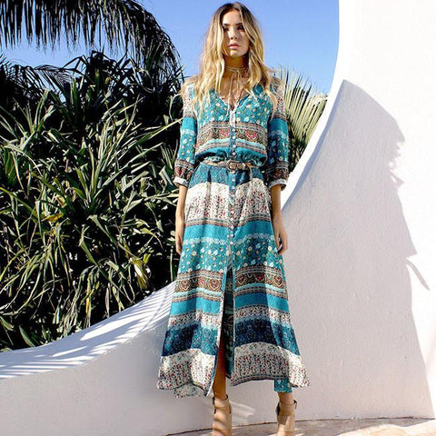 Women's Adjustable Half Sleeve Bohemian Printing Full-length Dress