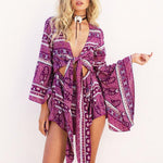 Trumpet Sleeves National Style Printing Lace Up Short Jumpsuit