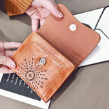 Retro Oil Wax Short Purse Hollow-Out Flower Women's Wallet Clutch Bag