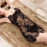 Sexy See Through Flower Embroidery Push Up Braces  Women's Lace Skirt Lingerie