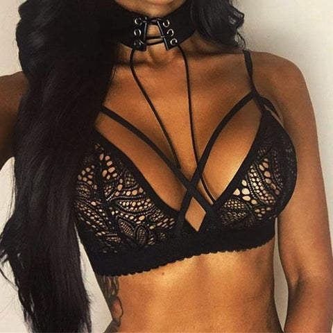 Sexy See Through Hollowed-out Flowers Front Cross Straps Braces Underwear Women's Lace Lingerie