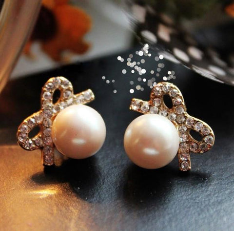 New Graceful Big Pearl Bowknot Earring&Stud - wikoco.com