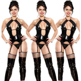 Sexy Black Openwork Patent Leather Lingerie Large Temptation Conjoined Straps Jumpsuit Lingerie