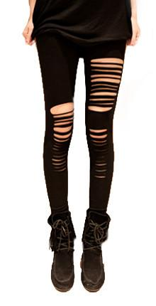 Sexy Black Cotton Hole Slim Leggings - wikoco.com