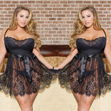 Sexy Hollow Sling Lady Flower Lace Large Women Sleepwear Nightdress Lingerie
