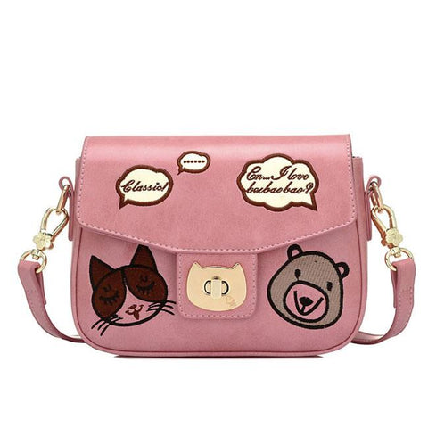 Cartoon Bear Crossbody Bag Cute Kitten Face Animal Shoulder Bag