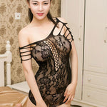 Sexy Transparent Grid Women Intimate Lingerie Lace Hollow Nightdress Lingerie - wikoco