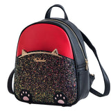 Cute Cartoon Sequin Kitten Foot PU Women Cartoon Cat Ear School Backpack