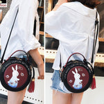Cute Small Round Rabbit Tassel Drum Lady Mini Shoulder Bag - wikoco
