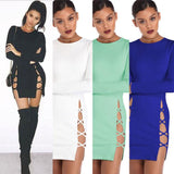 Sexy Women's Long Sleeves Side Slit Crossover Straps Package Hip Hollowed Skirt Dress