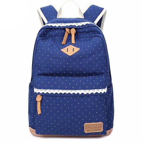 Sweet Wave Point Lace Large Capacity Dot Travel School Canvas Backpack