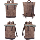 Retro Men's Canvas Waterproof Splicing Leather Flap Rivets Leisure Laptop School Backpack Travel Backpack