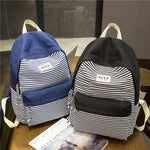 Leisure Travel Striped Canvas Girl's School Backpack Fashion Stripes Designed Student Bag