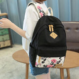 Flowers Rose School Girl's Black Canvas Large Backpack