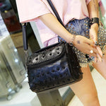 Punk Ladies Stitching Leather Weave Rivets Shoulder Bags