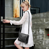 Leisure Weave Ladies Leather Braided Rivets Handbags Messenger Bags Shoulder Bag