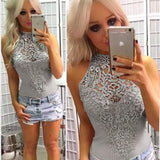 Sexy Lace Hollow Crochet Flower Sleeveless Women's Tops