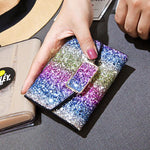 Shining Gradient Rainbow Style Bling Sequin Zipper Fashion Wallet Purse Clutch Bag
