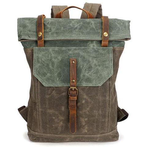 Unique Man Retro Canvas Buckle Leather Waterproof Square Flap School Backpack Large Travel Backpack