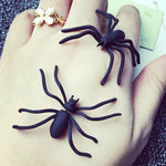 Punk Style Vivid Big Black Spider Animal Unusual Earring Studs