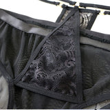 Sexy Lace Bandage Bra Set Mesh Black High Waist Sling Women Intimate Lingerie