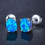 Unique Women's Stainless Steel Round Gem Cubic Zirconia Earring Studs
