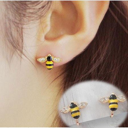 Cute Bee Diamond-bordered Wings Gold Plated Women Cartoon Animal Ear Clip