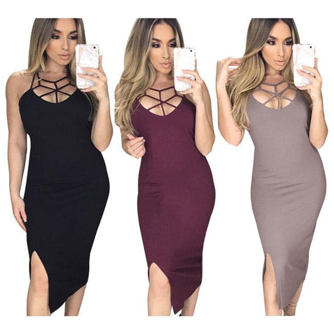 Sexy Chest Hollowed-out Side Slit Bandage Dress Skintight Women's Dress