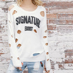 Irregular Ripped Letter Printing Sweater
