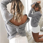 love Bare Midriff Knot Hollow Out Halter Zipper Sexy Sweater