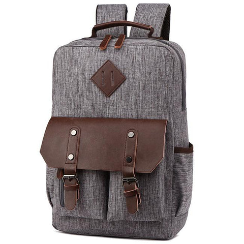 Retro Two Pockets Waterproof Leather Flap Large School Laptop Bag Travel Splicing PU Canvas Backpack
