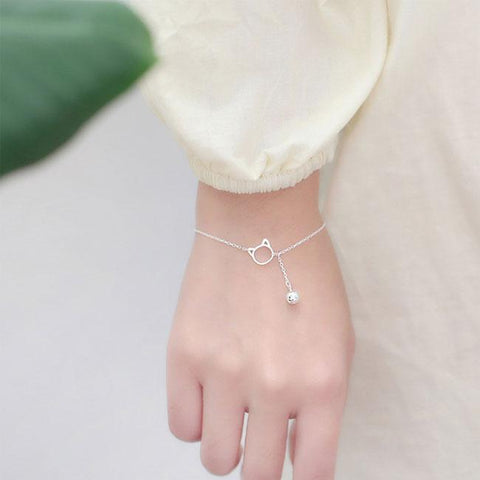 Sweet Kitten Head Bell Silver Bracelet Lover Gift Accessories Cat Tassel Women Bracelet