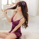 Sexy Graceful Purple Lace Bowknot Nightgown - wikoco.com