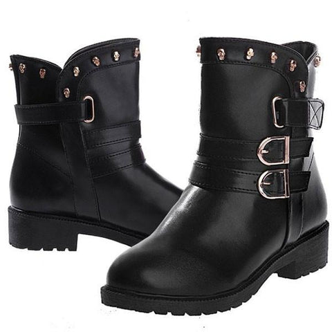 Cool Skull Rivet Buckle Low-heeled Boots - wikoco.com