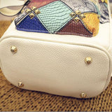 Fashion Mini Rivet Contrast School Rucksack Stitching Colorful Lady Backpack - wikoco.com