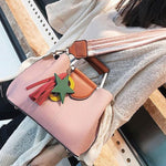 Fresh Girl's Lichee Pattern PU Tassels Letter Star Handbag Pendant Contrast Color Shoulder Bag
