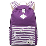 Retro Large Travel Striped Canvas School Backpack Striped Flowers Student Bag