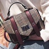 Fashion Double Buckle Girl's PU Splicing Plaid Woolen Belt Flap Shoulder Bag