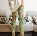 Vintage Latest Floral Print Graffiti Leggings