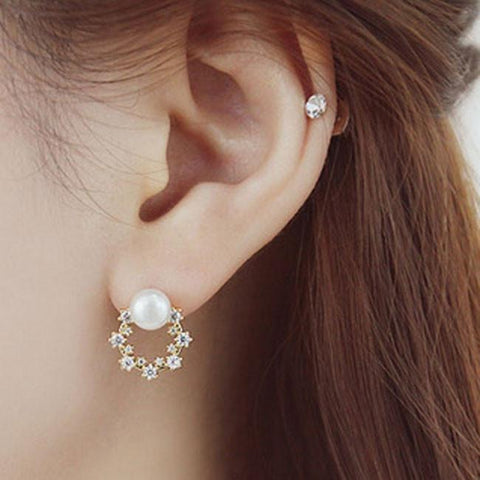 Unique  Flower Round Pearl Gemstone Crystal Silver Earring Studs