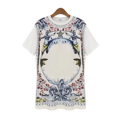 New Rose Printed Round Neck T-shirts - wikoco.com