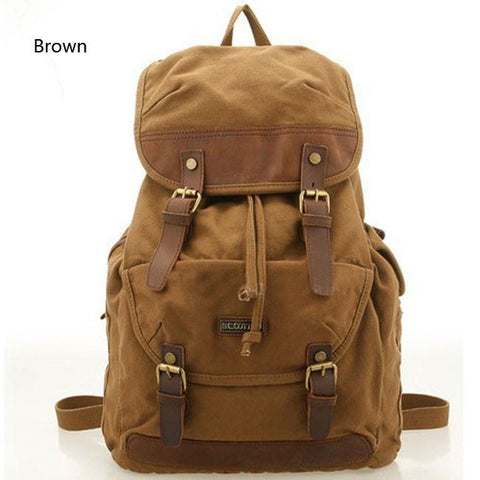 Vintage Canvas Outdoor Hiking Rucksack Women Men's Laptop Bag Large Camping Backpack