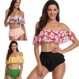 Sexy High Waist Bikinis Ruffle Sling  Flower Leaves Summer Swimsuit