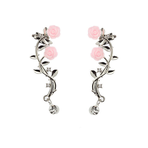 Cute Rose Leaves Branch Flower Rhinestone Girl's Ear Clips